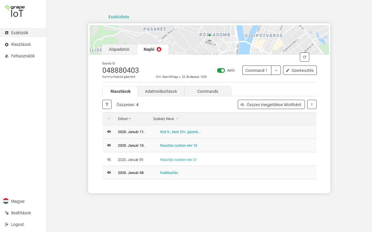 Eszköz adatlap – Napló - Riasztások - Grape IoT